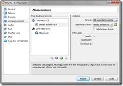 Configuración: Almacenamiento - unidad asociado