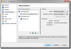 Configuración: Almacenamiento - Imagen de CD