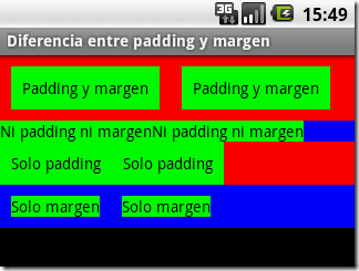 Dise ando interfaces en android padding y margen la for Diferencia entre licencia de apertura y licencia de actividad