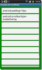 ScrollView con estilo insideOverlay y con padding