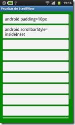 ScrollView con estilo insideInset y con padding