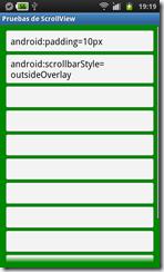 ScrollView con estilo outsideOverlay y con padding