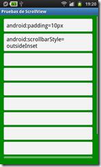 ScrollView con estilo outsideInset y con padding