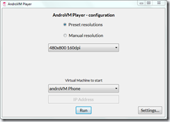 AndroVM Player - Conectado a VirtualBox